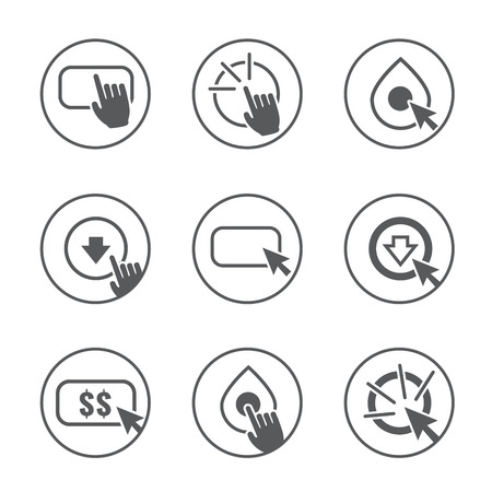 Call to Action Icon Graphics with Buttons, Clicking Hand and Pointers, and Dollar Signs