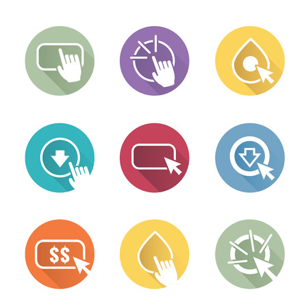 clicking: Call to Action Icon Graphics with Buttons, Clicking Hand and Pointers, and Dollar Signs
