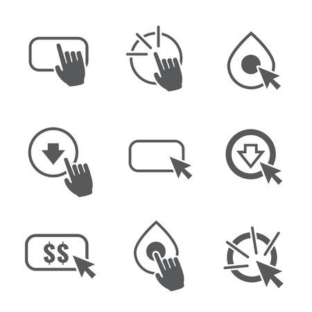 Aufruf zum Handeln Icon Grafik mit Knöpfen, Ein Klick Hand und Zeiger und Dollar-Zeichen
