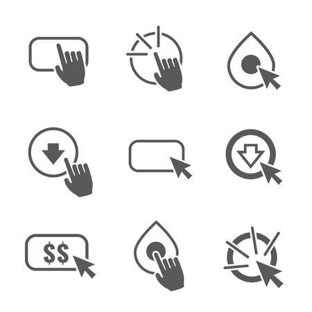 lead: Call to Action Icon Graphics with Buttons, Clicking Hand and Pointers, and Dollar Signs
