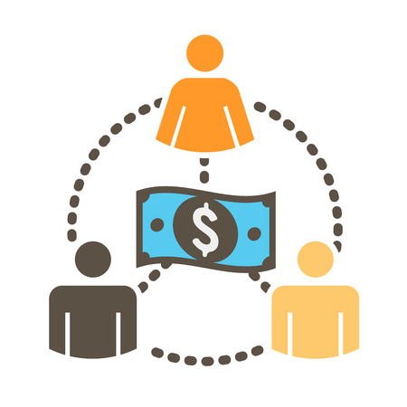 funds: People Working Together to Fund Different Online Ideas with Money Icon Set