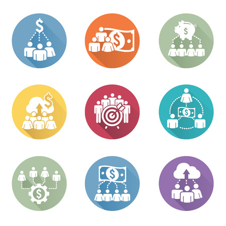 crowd sourcing: People Working Together to Fund Different Online Ideas with Money Icon Set