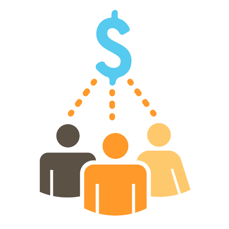 working together: People Working Together to Fund Different Online Ideas with Money Icon Set
