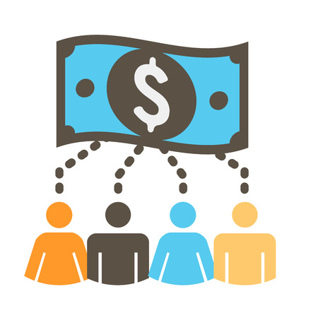 crowdsource: People Working Together to Fund Different Online Ideas with Money Icon Set