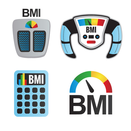 overeat: BMI or Body Mass Index Icons