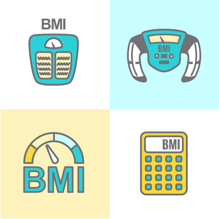 overeating: BMI or Body Mass Index Icons