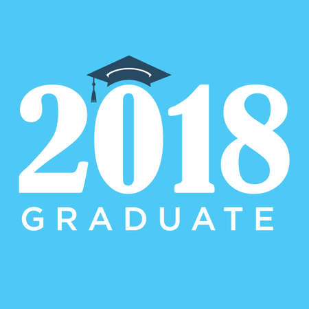 graduating seniors: 2018 Graduate Typography Intended for Graduating Seniors and the Class of 2018 Illustration