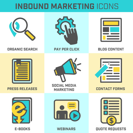 press release: Inbound Marketing Vector Icons with organic search, ppc, blog content, press release, social media marketing, contact form, ebook, video, webinar, and quote request