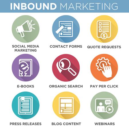 Inbound Marketing Iconos del vector con la búsqueda orgánica, ppc, el contenido del blog, comunicado de prensa, el social media marketing, formulario de contacto, libro electrónico, vídeo, seminario, y de solicitud de presupuesto Foto de archivo - 58501987