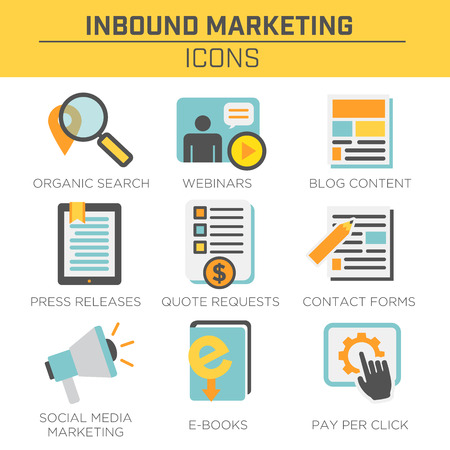 request: Inbound Marketing Vector Icons with organic search, ppc, blog content, press release, social media marketing, contact form, ebook, video, webinar, and quote request