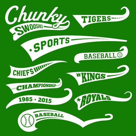 Vector Swooshes, Swishes, Whooshes und Swashes für Typografie auf Retro oder Vintage Baseball-Endstück-T-Shirt Standard-Bild - 58578208