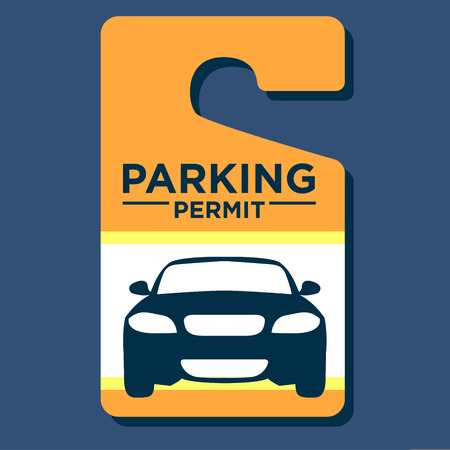 Paid Business Parking Permit Hangtag Vettoriali