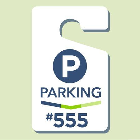 permit: Paid Business Parking Permit Hangtag Illustration