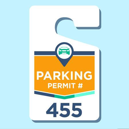 hangtag: Paid Business Parking Permit Hangtag Illustration