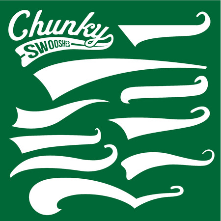Vector Swooshes, Swishes, Whooshes, and Swashes for Typography on Retro or Vintage Baseball Tail Tee shirt Illustration