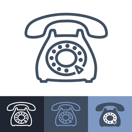 old phone: Old Rotary Phone Outline Icon Illustration