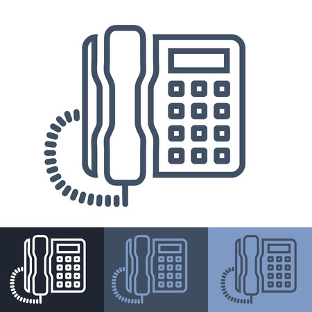 call history: Retro Office Phone Outline Icon Illustration