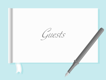 appointment book: Guest Book with Pen Illustration