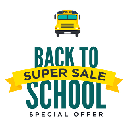 schoolbus: Back to School Sale Sign with Schoolbus Vector Illustration