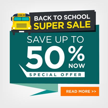 위로 스쿨 버스 벡터와 학교 판매 로그인에 일러스트