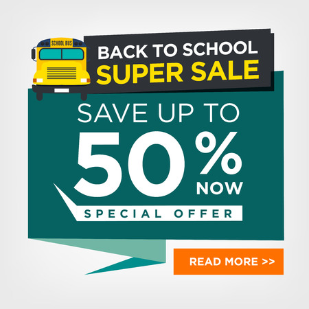 Back to School Sale Sign with Schoolbus Vector Illustration