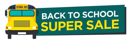 Back to School koop bord met Schoolbus Vector Stock Illustratie