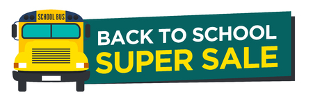 Back to School Sale Sign with Schoolbus Vector Ilustração