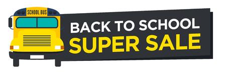schoolbus: Back to School Sale Sign with Schoolbus Vector Illustration