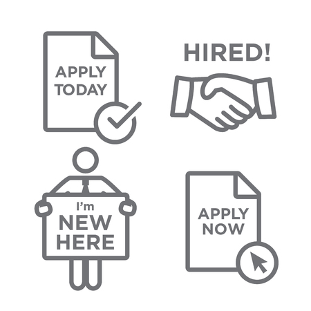 apply: Apply and Hired Outline Icons with Person