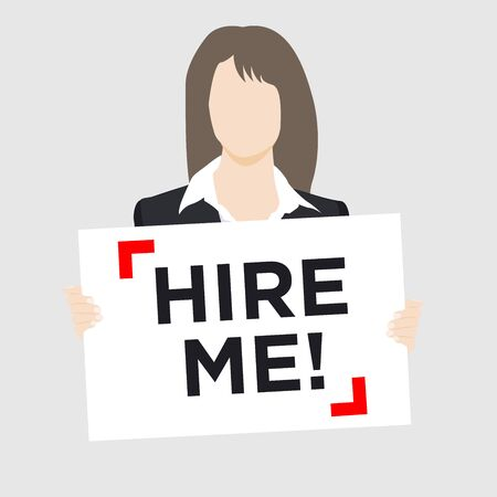 Woman in suit holding Hire Me Sign