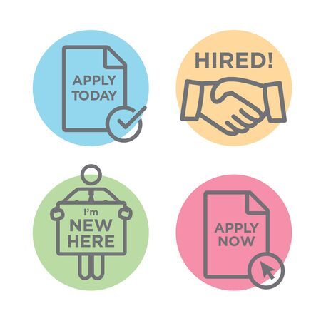 hired: Apply and Hired Outline Icons with Person