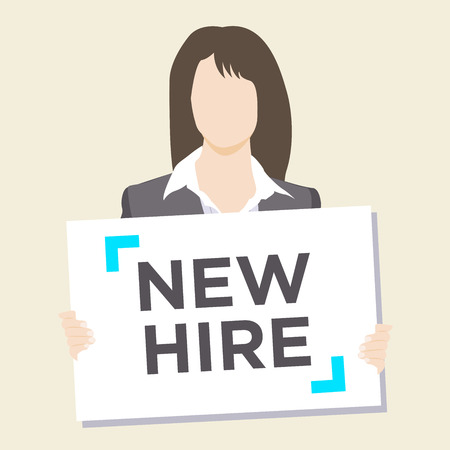 Woman in suit holding New Hire Sign Illustration