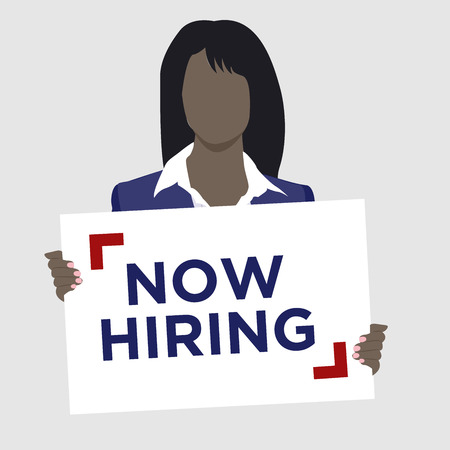African Woman in suit holding Now Hiring Sign