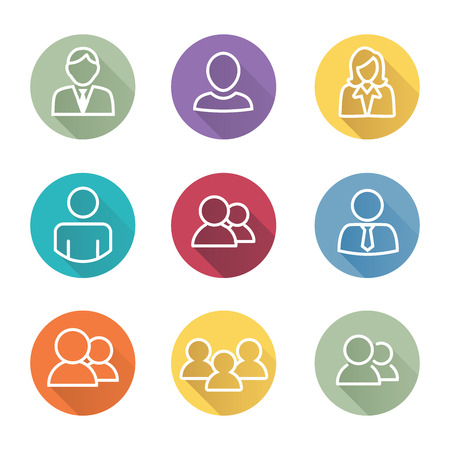 Standard User Icon Set with Men, Women, and Multiple People