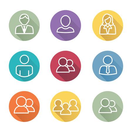 Standard User Icon Set con hombres, mujeres, y varias personas
