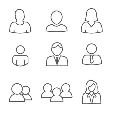 standard: Standard User Icon Set with Men, Women, and Multiple People