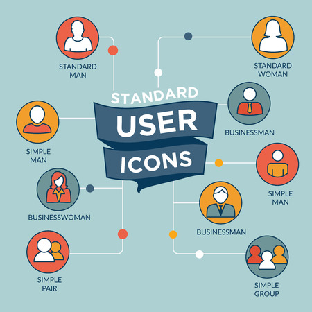 username: Standard User Icon Set with Men, Women, and Multiple People