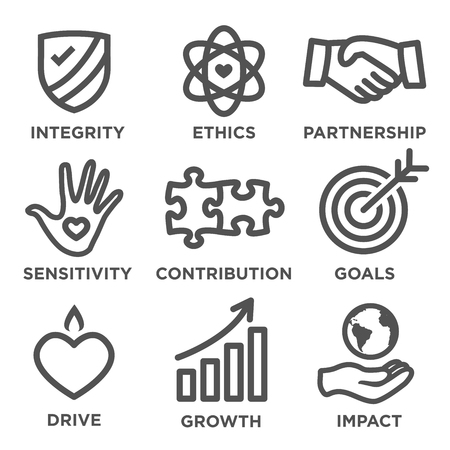 Odpowiedzialność społeczna Zarys Icon Set - napędy, wzrost, uczciwość, wrażliwość, wkład, cele