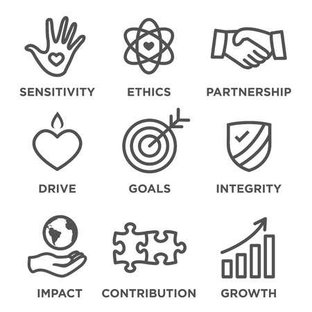 Responsabilité sociale Outline Icon Set - entraînement, la croissance, l'intégrité, la sensibilité, la contribution, les objectifs Banque d'images - 61659854