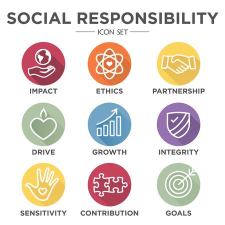 Conjunto de ícones de contorno de responsabilidade social - unidade, crescimento, integridade, sensibilidade, contribuição, objetivos