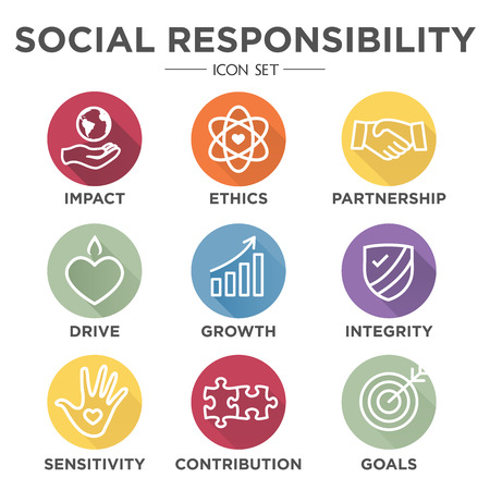 La responsabilità sociale Outline Icon Set - unità, la crescita, l'integrità, la sensibilità, il contributo, gli obiettivi