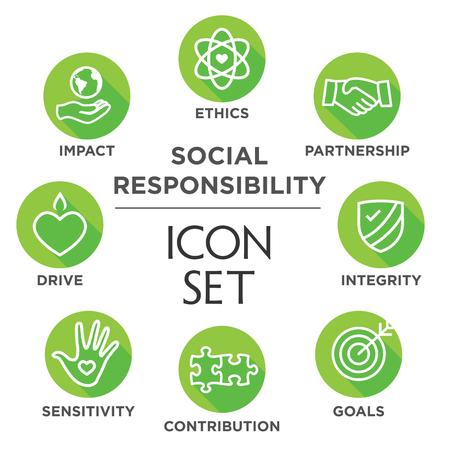 La responsabilità sociale Outline Icon Set - unità, la crescita, l'integrità, la sensibilità, il contributo, gli obiettivi Vettoriali