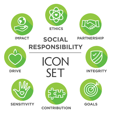 Social Responsibility Outline Icon Set - drive, growth, integrity, sensitivity, contribution, goals Banco de Imagens - 61659852