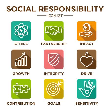Social Responsibility Outline Icon Set - aandrijving, groei, integriteit, gevoeligheid, bijdrage, doelen
