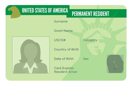 Naturalizzazione americana o carta di residenza permanente Vettoriali