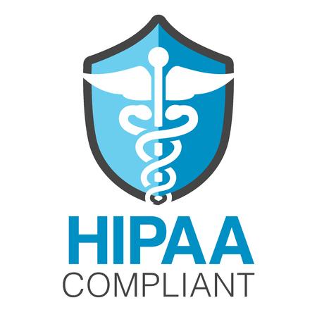 의료 보안 심볼이있는 HIPAA 준수 아이콘 그래픽