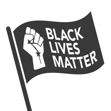 Black Lives Matter Illustration with Strong Fist and Flag Çizim