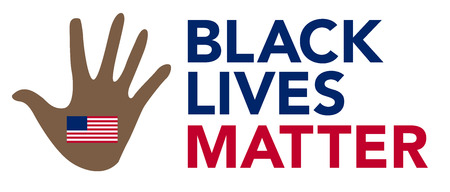 equal opportunity: Black Lives Matter Illustration with Hand and American Flag