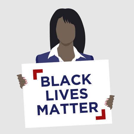 equal opportunity: Black Lives Matter Illustration with African American Female Holding sign
