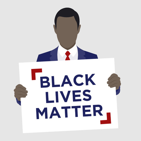 matter: Black Lives Matter Illustration with African American Male Holding sign